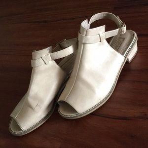 Nude Topshop open toe block heel mule sandal